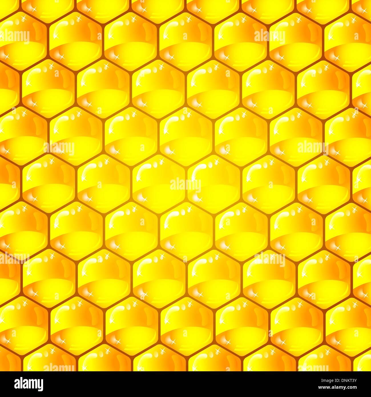 Celdas de oro de un patrón de panal. Ilustración vectorial. Imagen De Stock