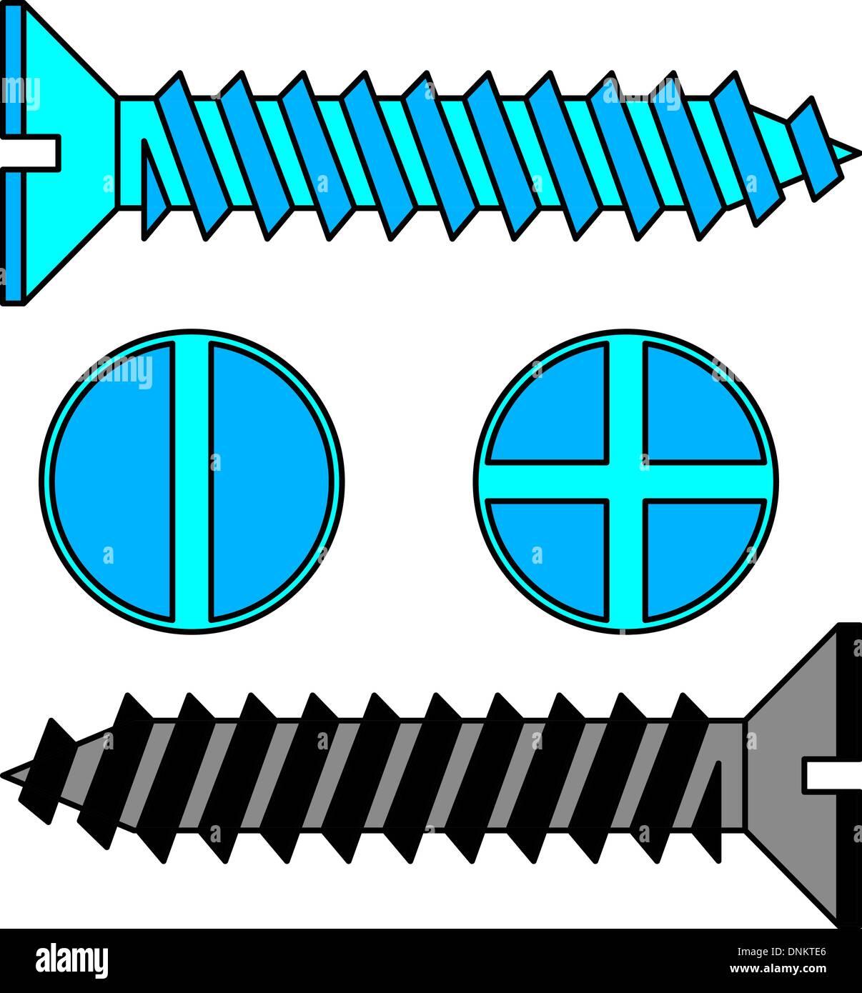 Tornillo de acero inoxidable. Ilustración vectorial. Imagen De Stock