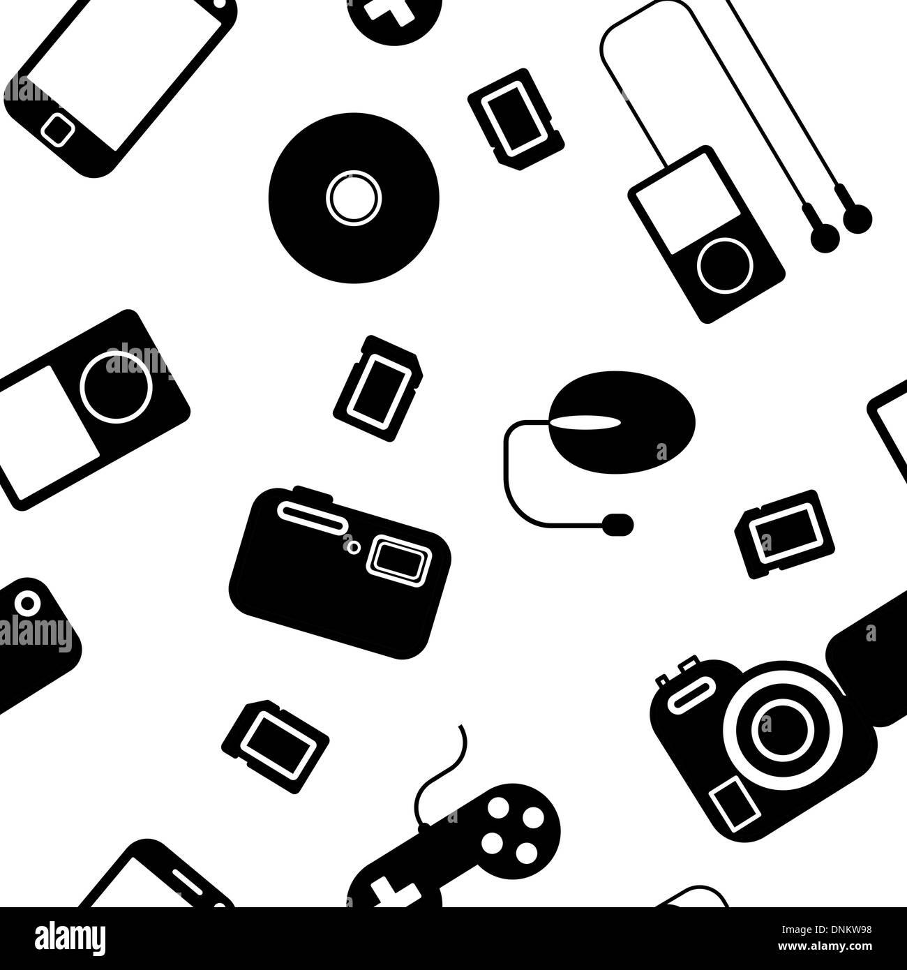 Icono de fondo sin fisuras con los aparatos electrónicos. Podría utilizarse como papel tapiz sin fisuras, Imagen De Stock