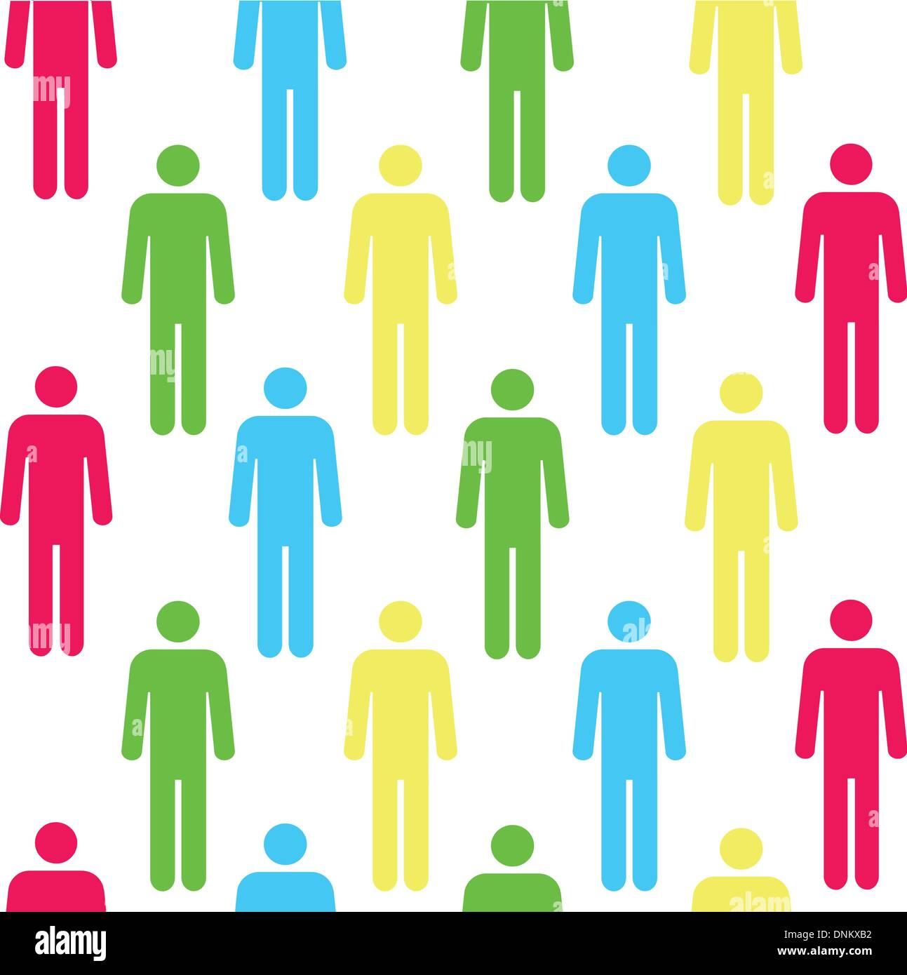 Patrón sin fisuras con siluetas de las persona de color rojo.(se puede repetir y ampliar en cualquier tamaño) Imagen De Stock