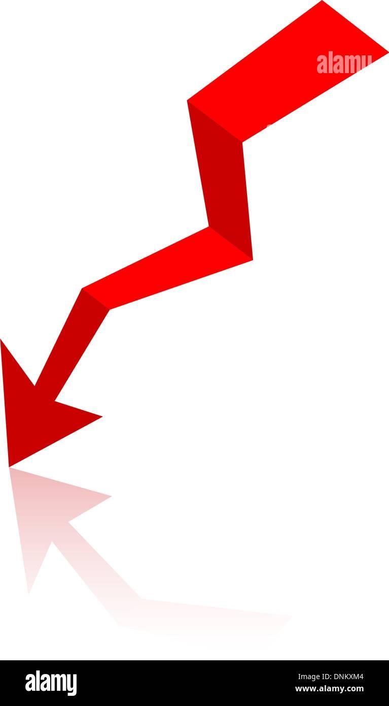 Flecha de origami, papel ilustración vectorial. Imagen De Stock