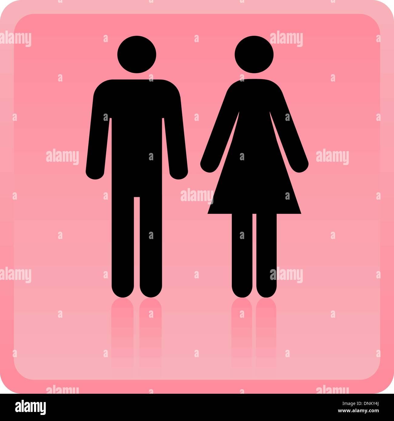 Hombre y Mujer icono vectorial sobre fondo de color rosa Imagen De Stock
