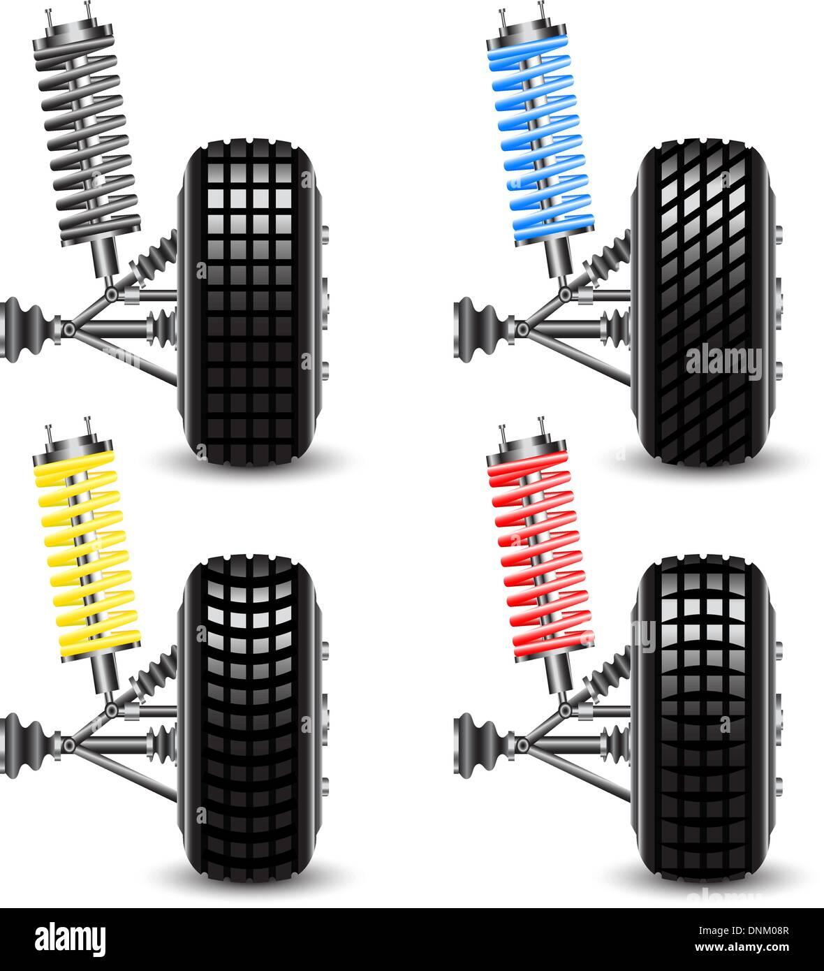 Conjunto de suspensión frontal del automóvil, vista frontal. Ilustración vectorial Imagen De Stock