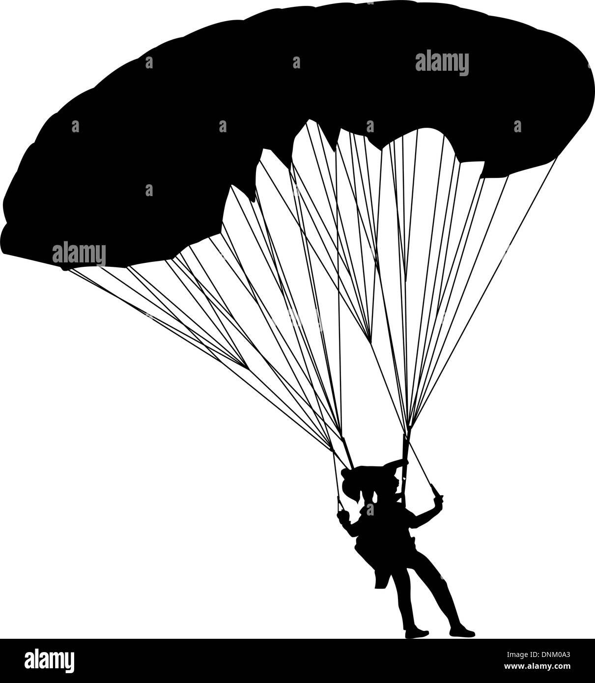 Jumper, siluetas en blanco y negro ilustración vectorial Imagen De Stock