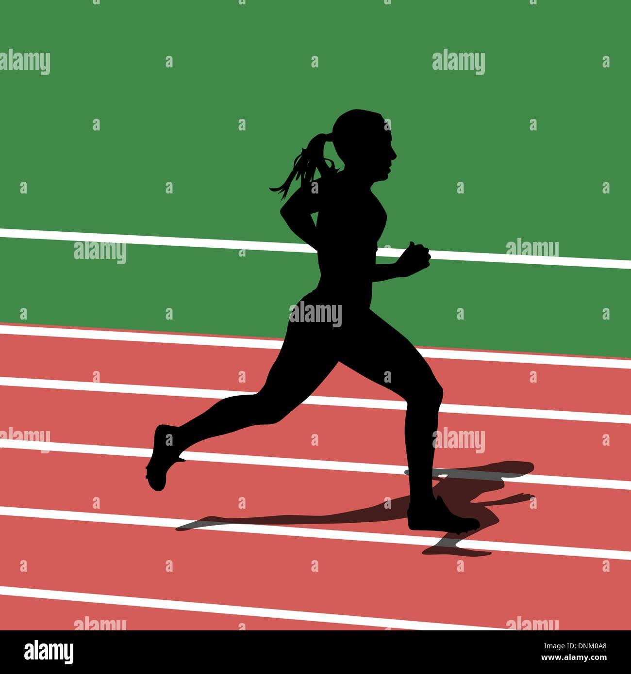 Ejecutando siluetas en estadio deportivo. Ilustración vectorial. Imagen De Stock
