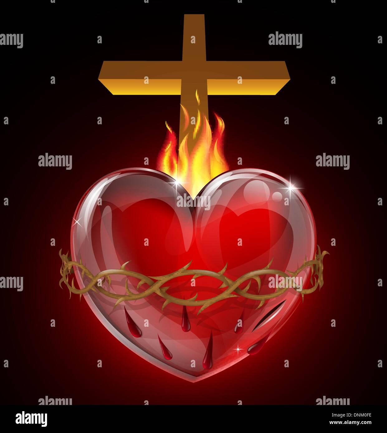 Ilustración Del Sagrado Corazón De Jesús Un Corazón Sangrando Con