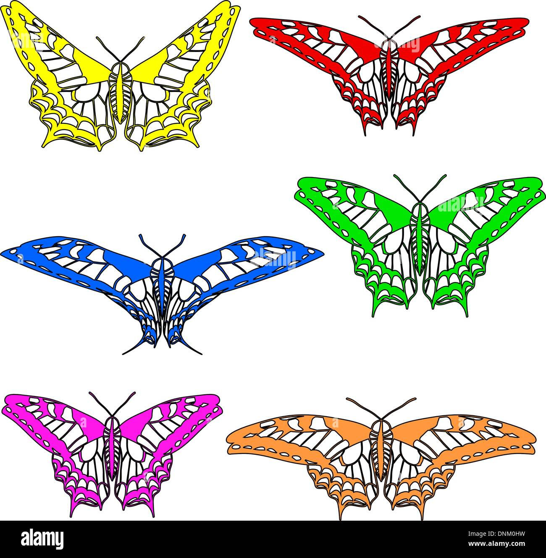 Vector conjunto de hermosas mariposas. Imagen De Stock