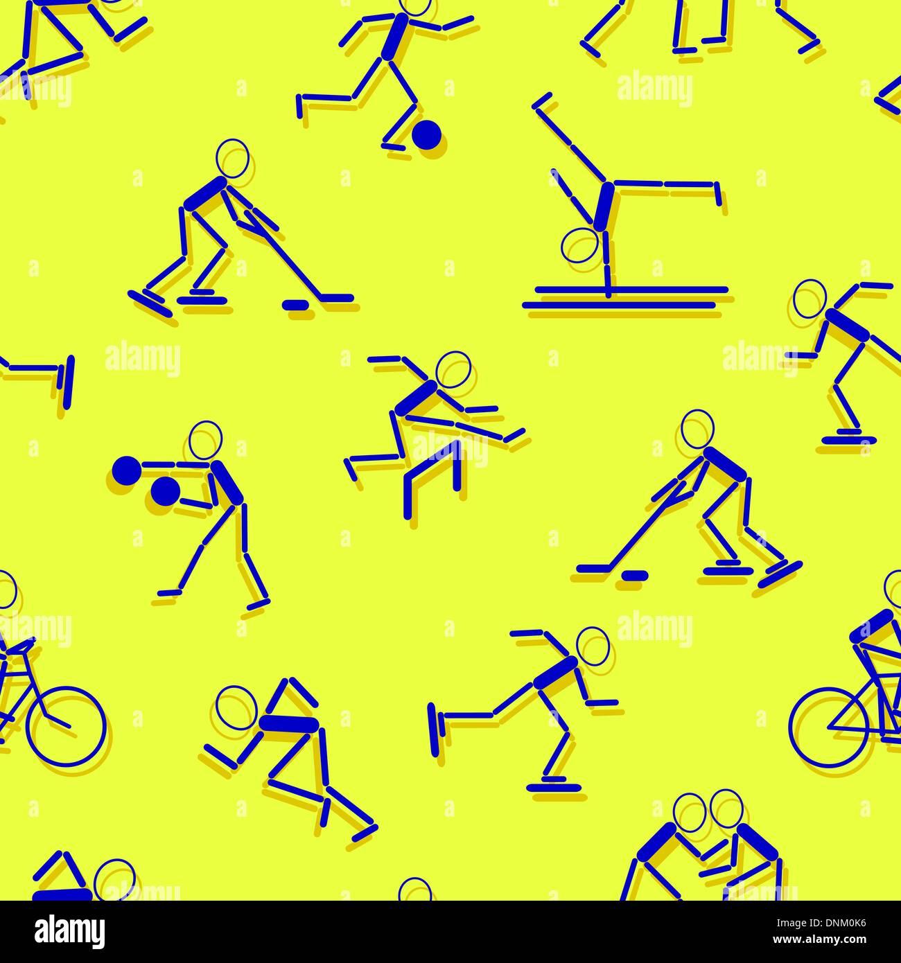Iconos del deporte. Papel tapiz sin fisuras. Imagen De Stock