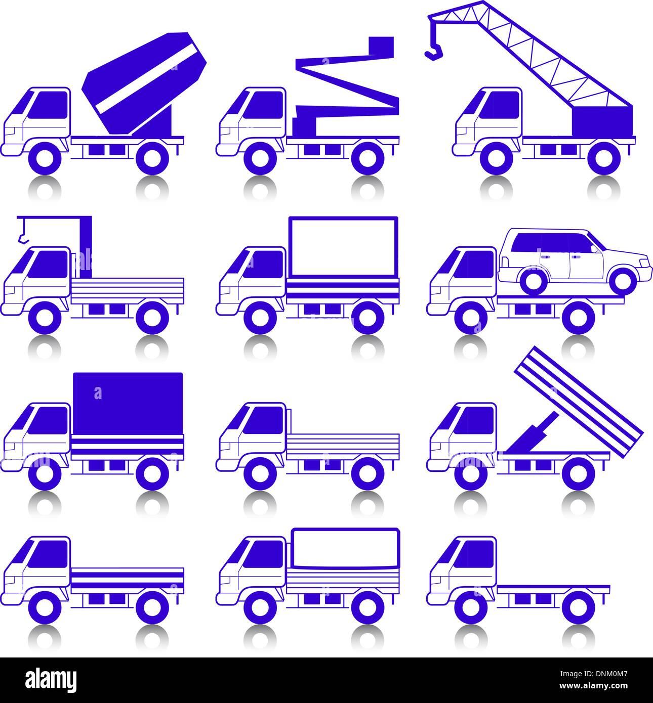 Conjunto de iconos vectoriales - símbolos de transporte. Coches, vehículos. La carrocería del coche. Imagen De Stock