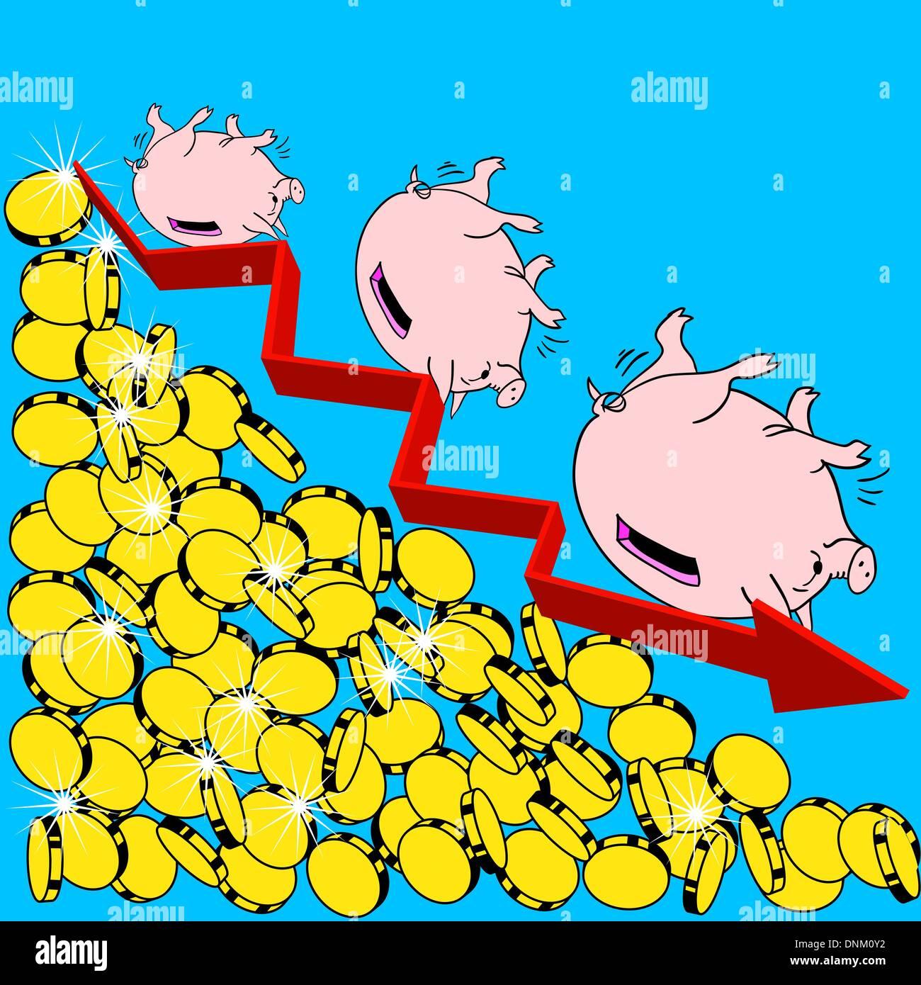 La crisis financiera la ilustración del concepto Imagen De Stock