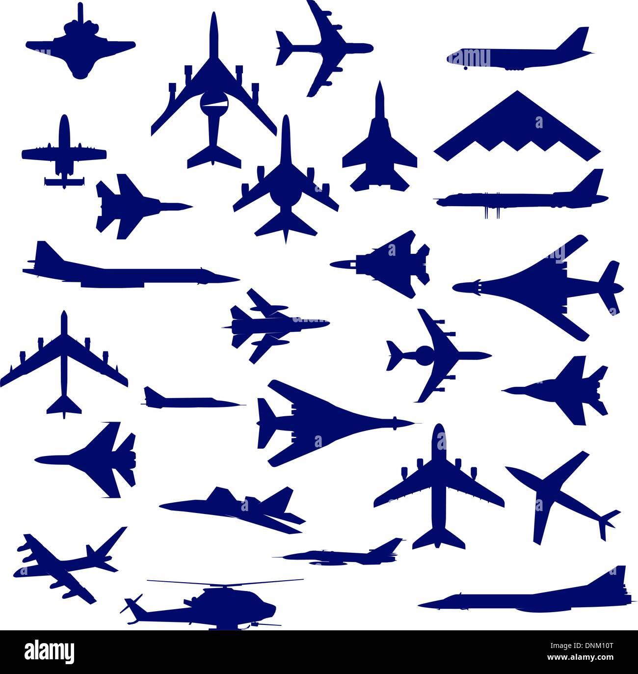 Aviones de combate. Equipo. ilustración vectorial para diseñadores Imagen De Stock