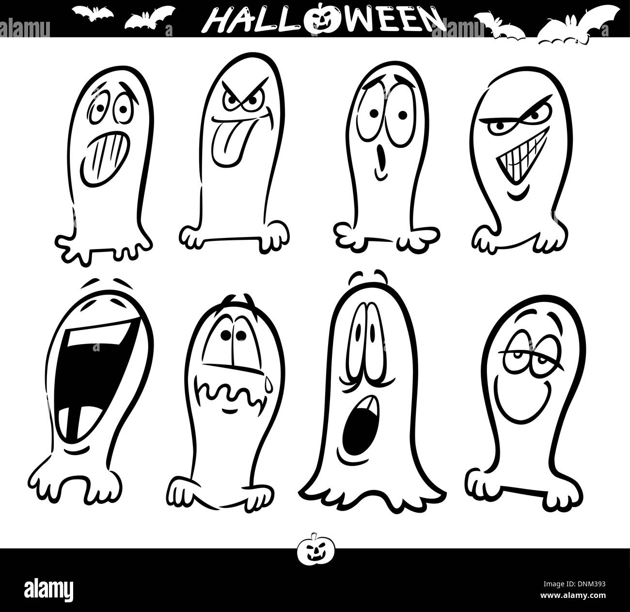 Cartoon ilustración de temas de Halloween, Fantasmas emociones ...