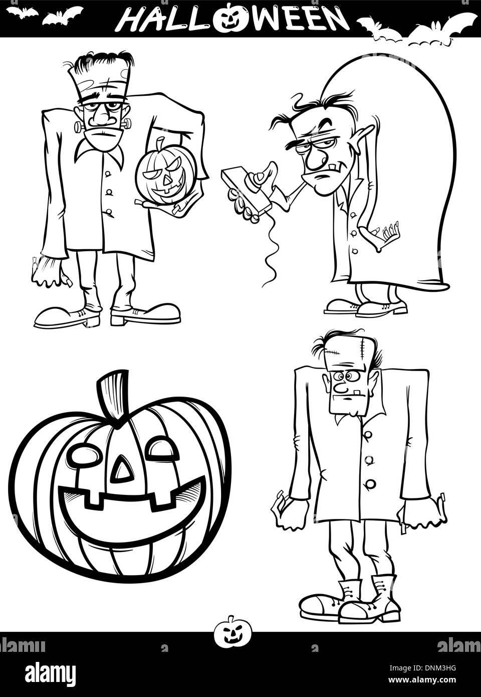 Ilustración De Caricatura En Blanco Y Negro De Los Temas