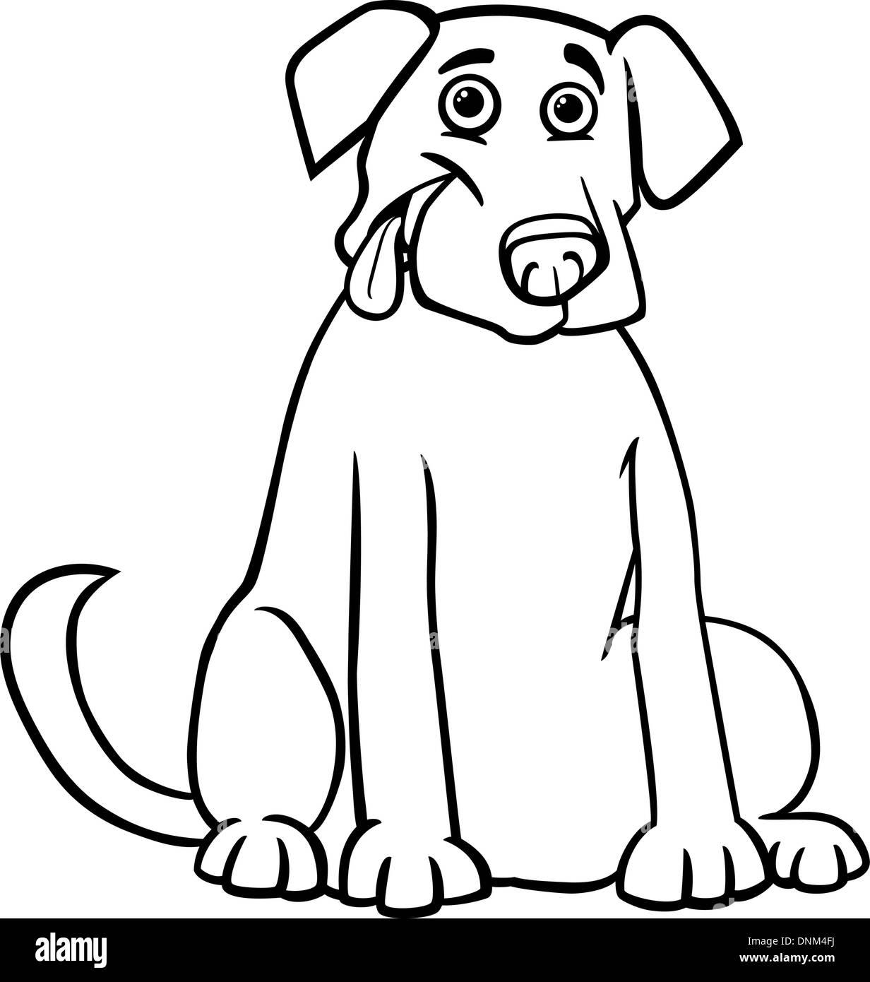 Ilustración Caricatura En Blanco Y Negro De Gracioso Perro