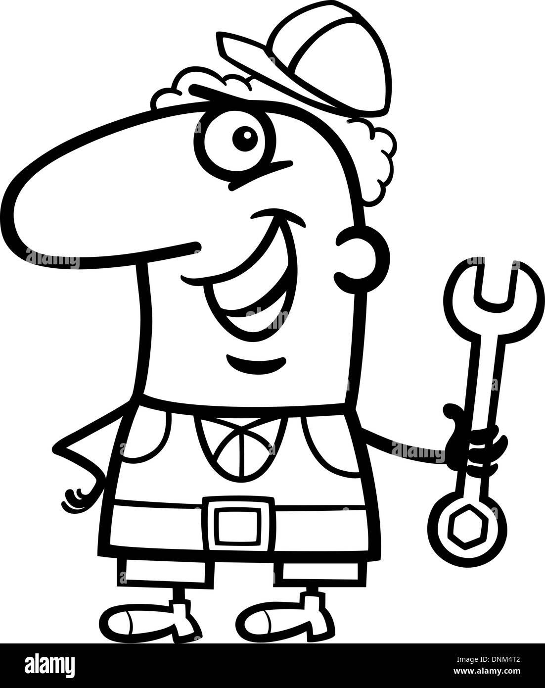 Ilustración Caricatura En Blanco Y Negro De Funny Trabajador Manual