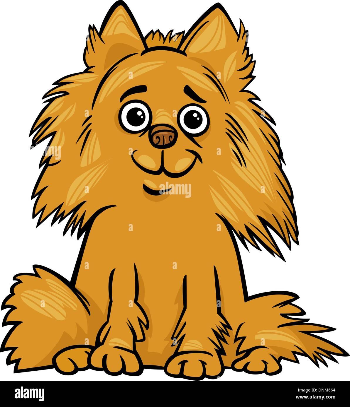 Ilustración de Cartoon Shaggy lindo perro Pomerania de raza pura ...