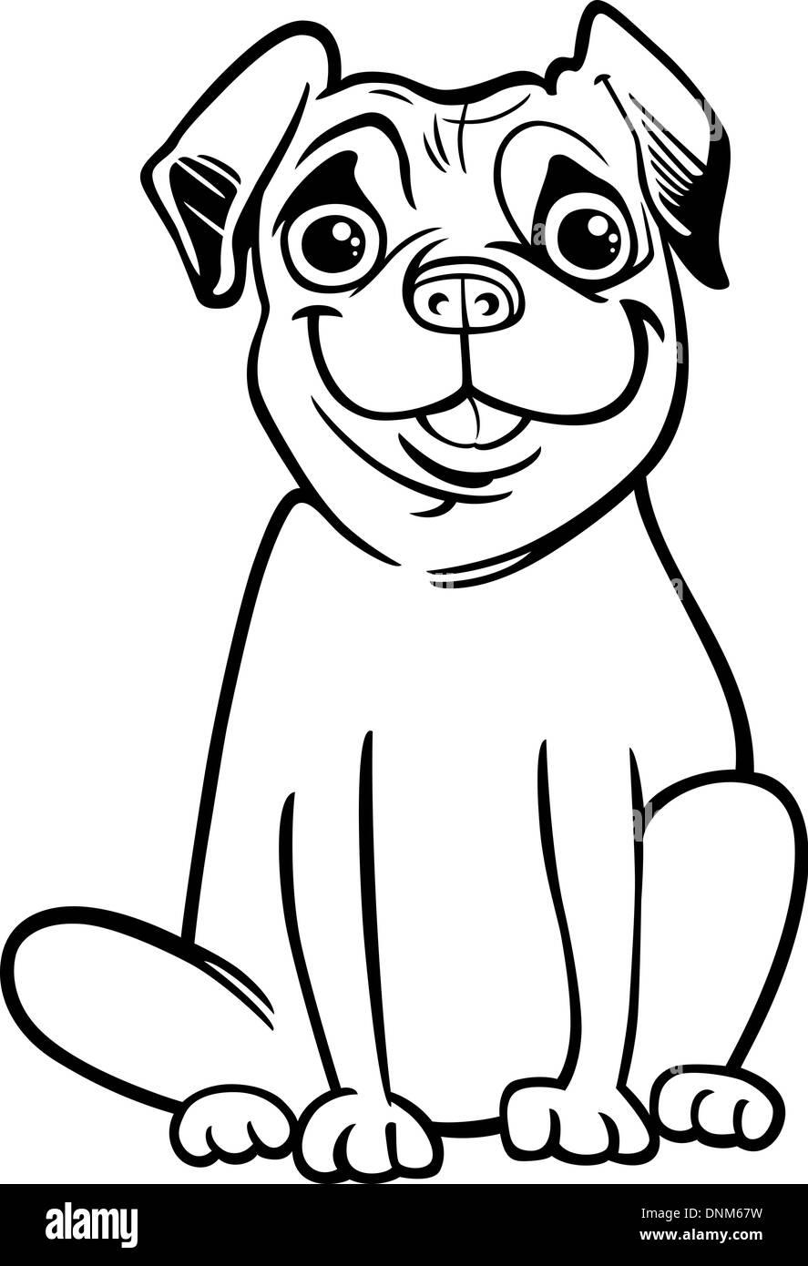 Ilustración caricatura en blanco y negro de lindo perro Pug de pura ...