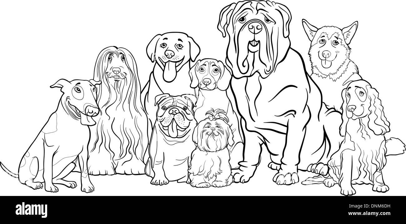 Ilustración Caricatura En Blanco Y Negro De Gracioso Perros