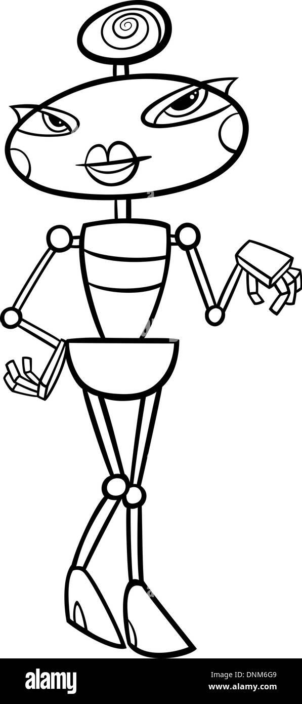 Ilustración Caricatura En Blanco Y Negro De Lindo Robot Femenino O