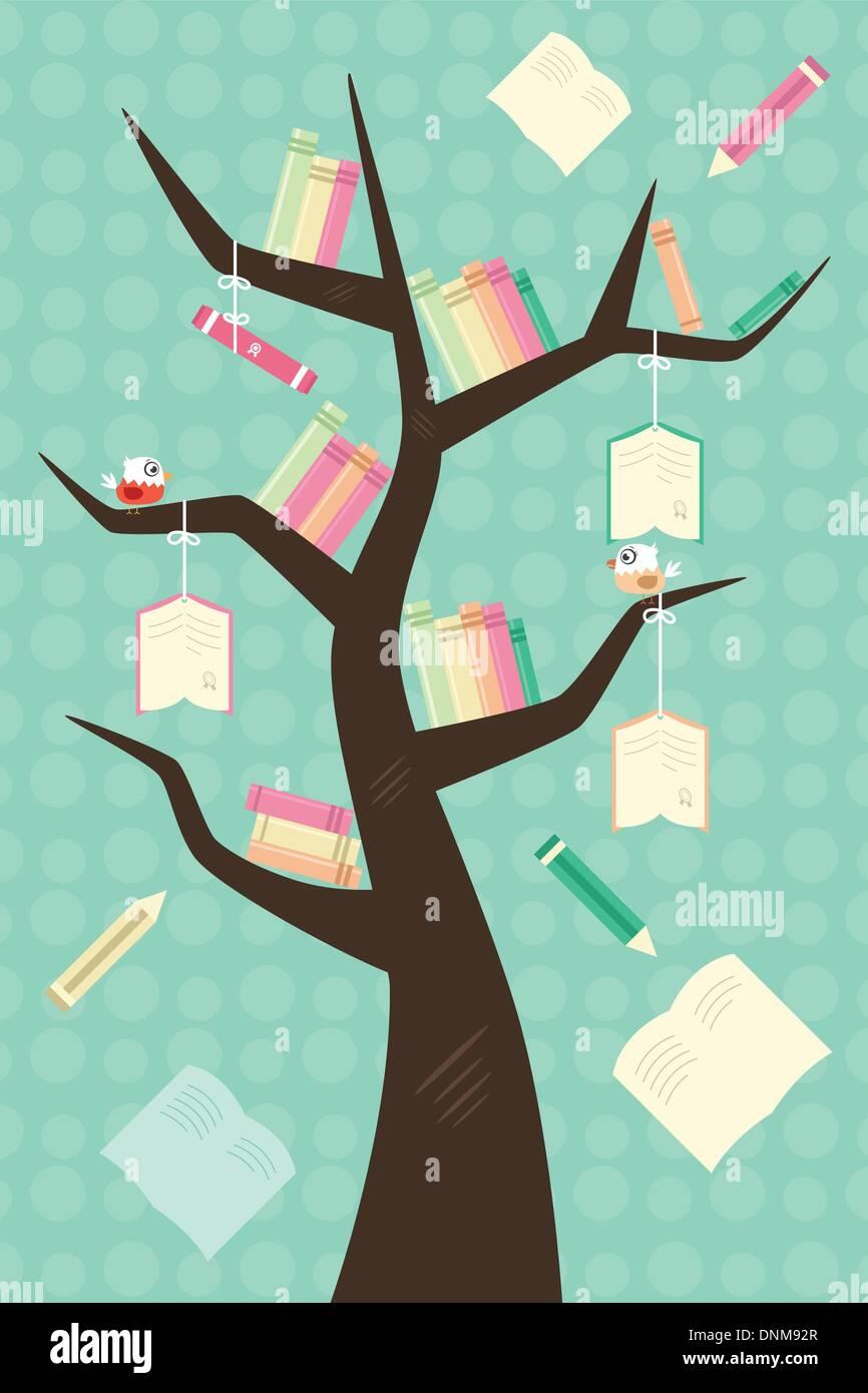 Una ilustración vectorial de un concepto de educación learning tree Imagen De Stock