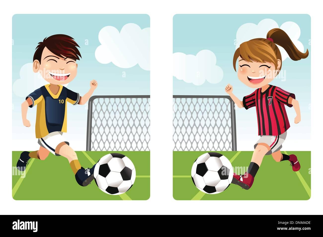 Ilustracin De Dibujos Animados Chico Jugando Al Ftbol Deportes