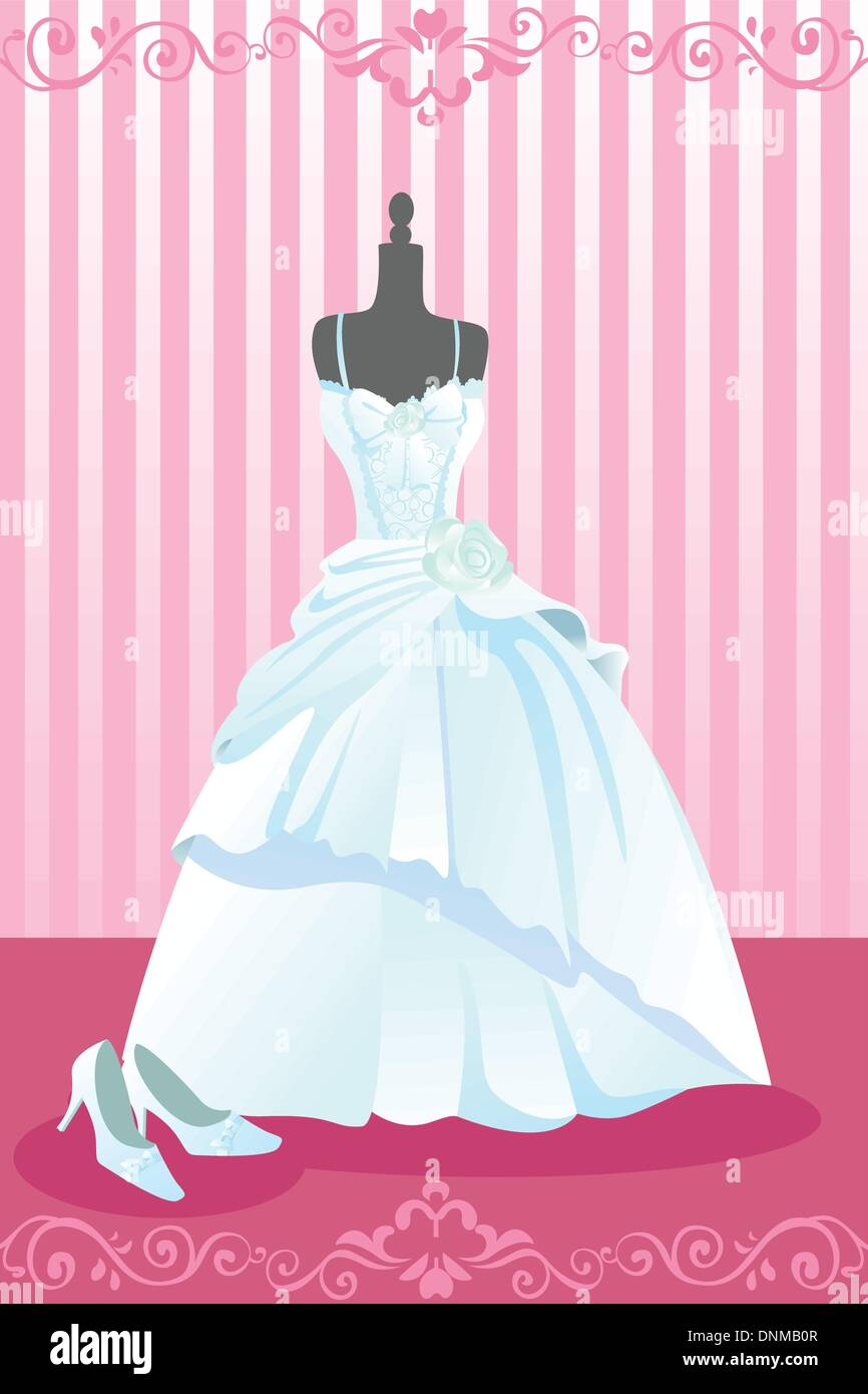 Illustration Drawing White Wedding Dress Imágenes De Stock ...