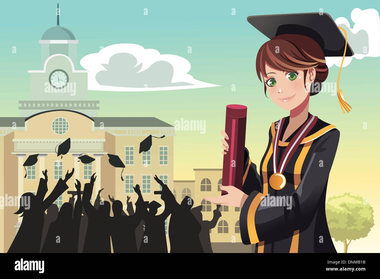 Una ilustración vectorial de una chica sujetando su diploma de graduación con sus amigos en el fondo Imagen De Stock