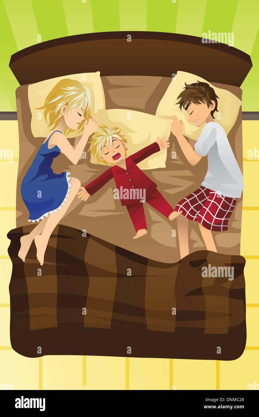 Una ilustración vectorial de padres con sus niños dormir en la misma cama Ilustración del Vector