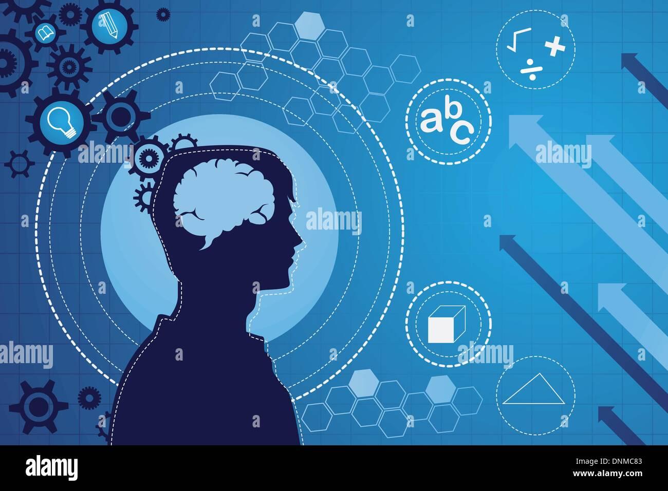 Una ilustración vectorial de la función del cerebro humano concepto Imagen De Stock