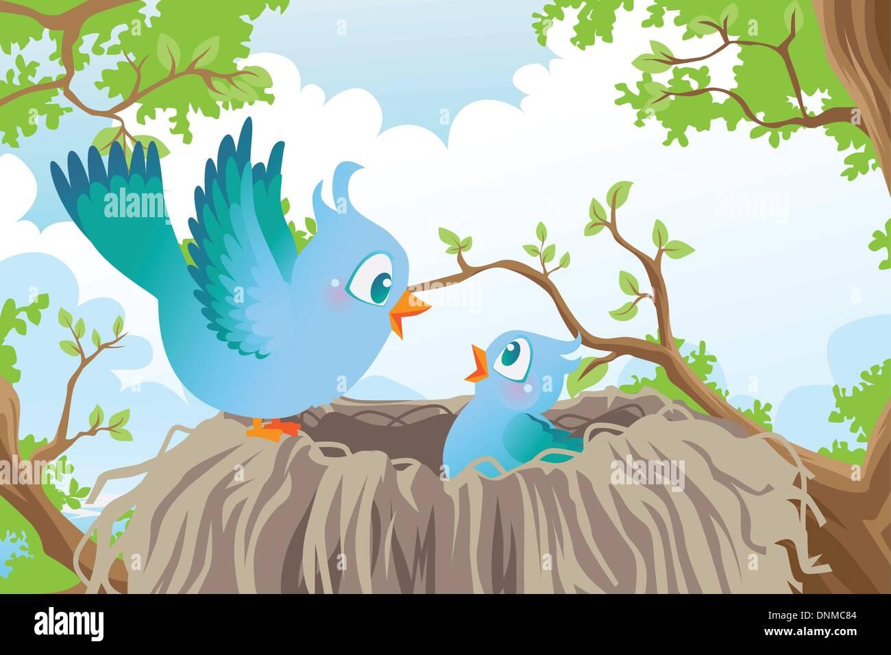 Una ilustración vectorial de aves en el nido. Imagen De Stock