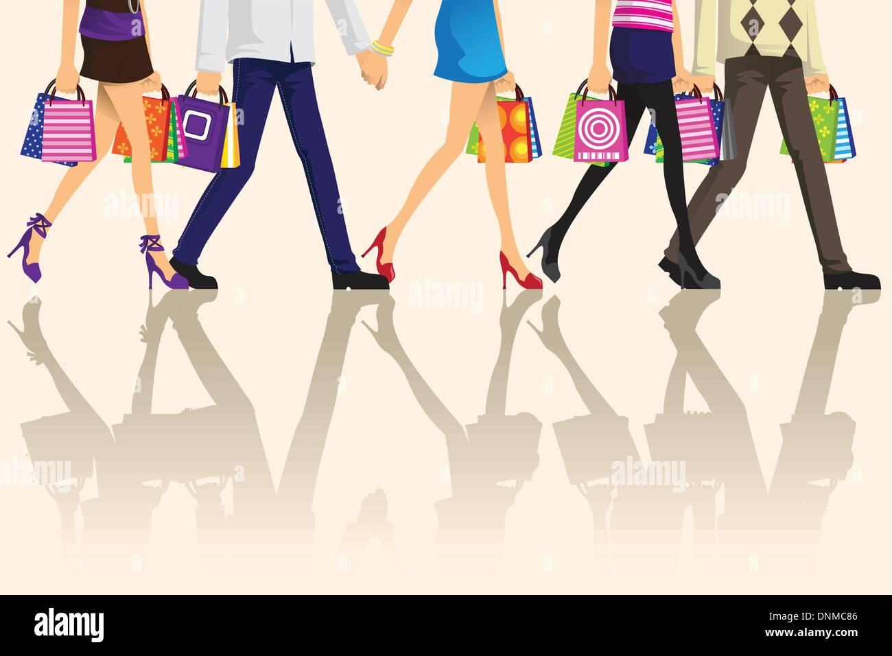 Una ilustración vectorial de compras la gente llevando bolsas de la compra. Ilustración del Vector