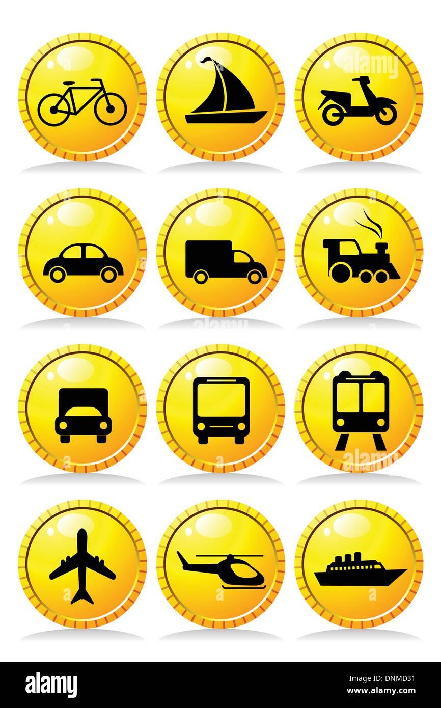 Una ilustración vectorial de un conjunto de iconos de transporte Imagen De Stock