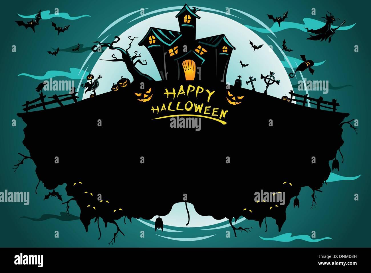 Una ilustración vectorial de Halloween diseño de póster Imagen De Stock