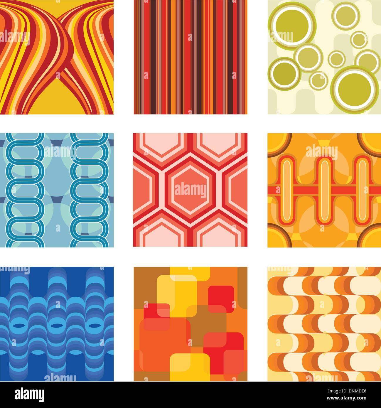 Una ilustración vectorial de un conjunto retro de papel tapiz Imagen De Stock