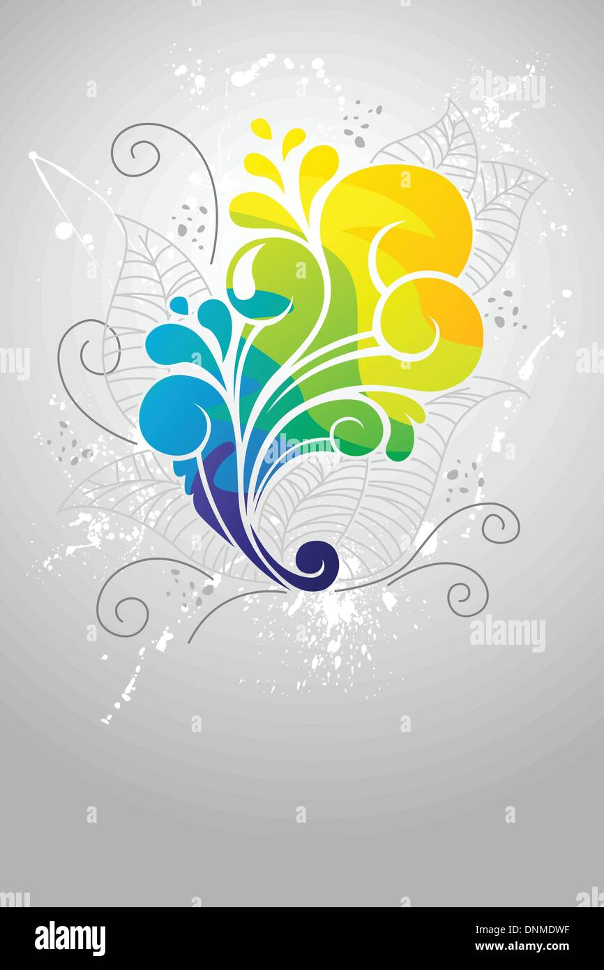 Una ilustración vectorial de diseño abstracto floral Imagen De Stock
