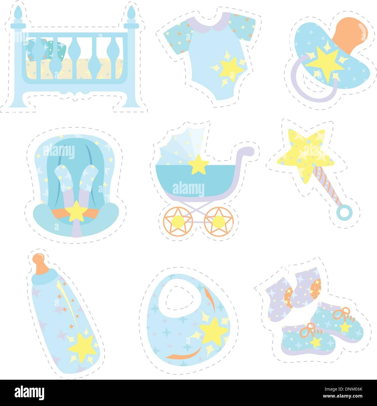 Una ilustración vectorial de los iconos de elementos de bebé Imagen De Stock