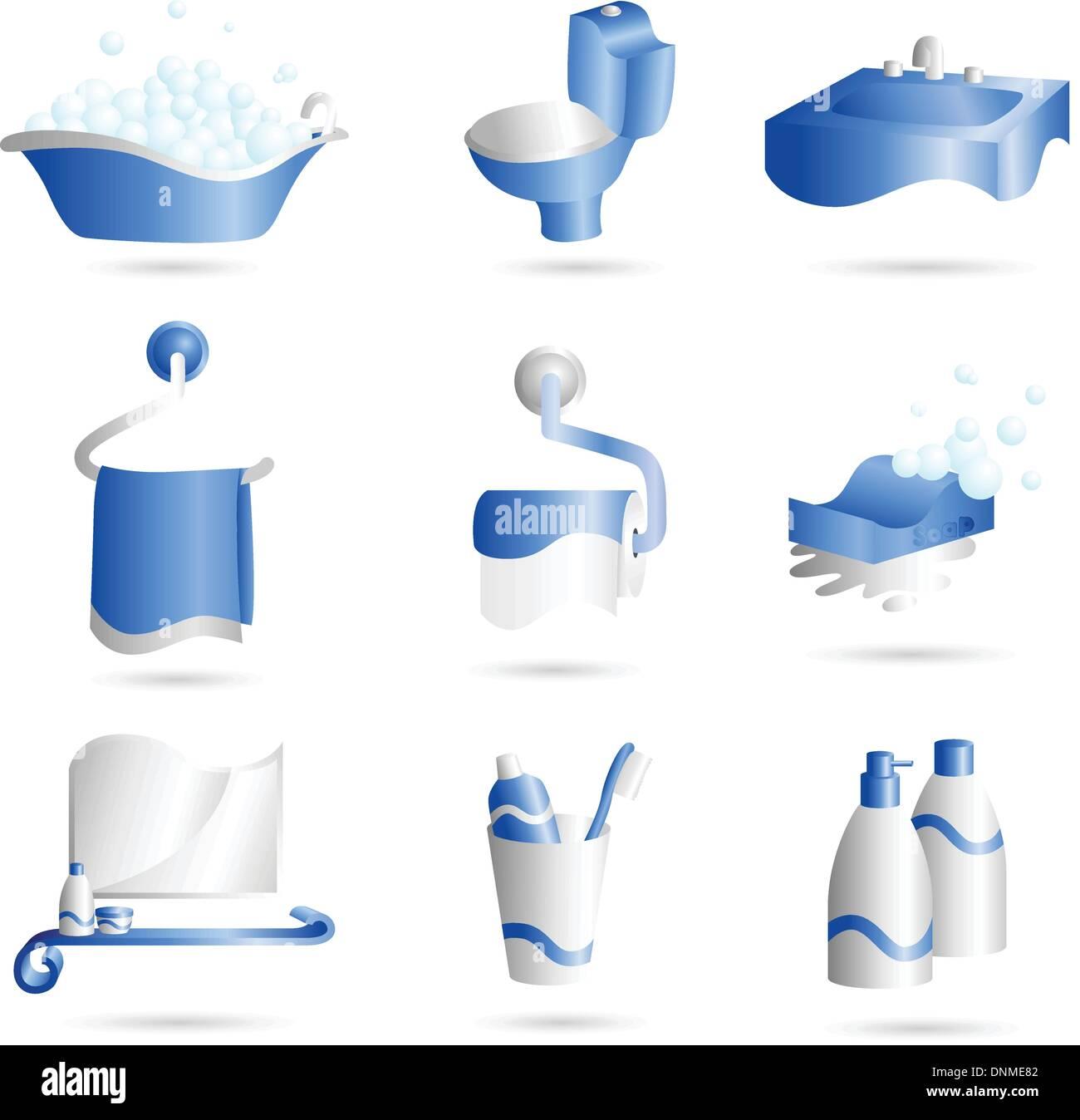 Una ilustración vectorial de iconos de cosas que se pueden encontrar en el baño. Imagen De Stock