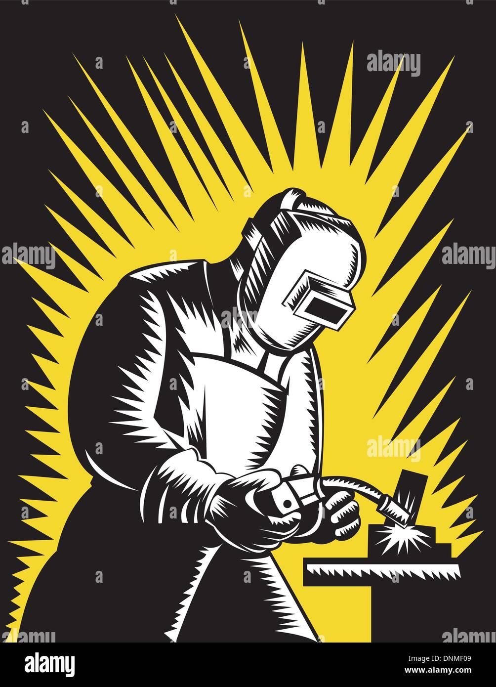Ilustración de un trabajador de metal soldador Soldadura con soplete y visor realizada en xilografía estilo retro. Ilustración del Vector