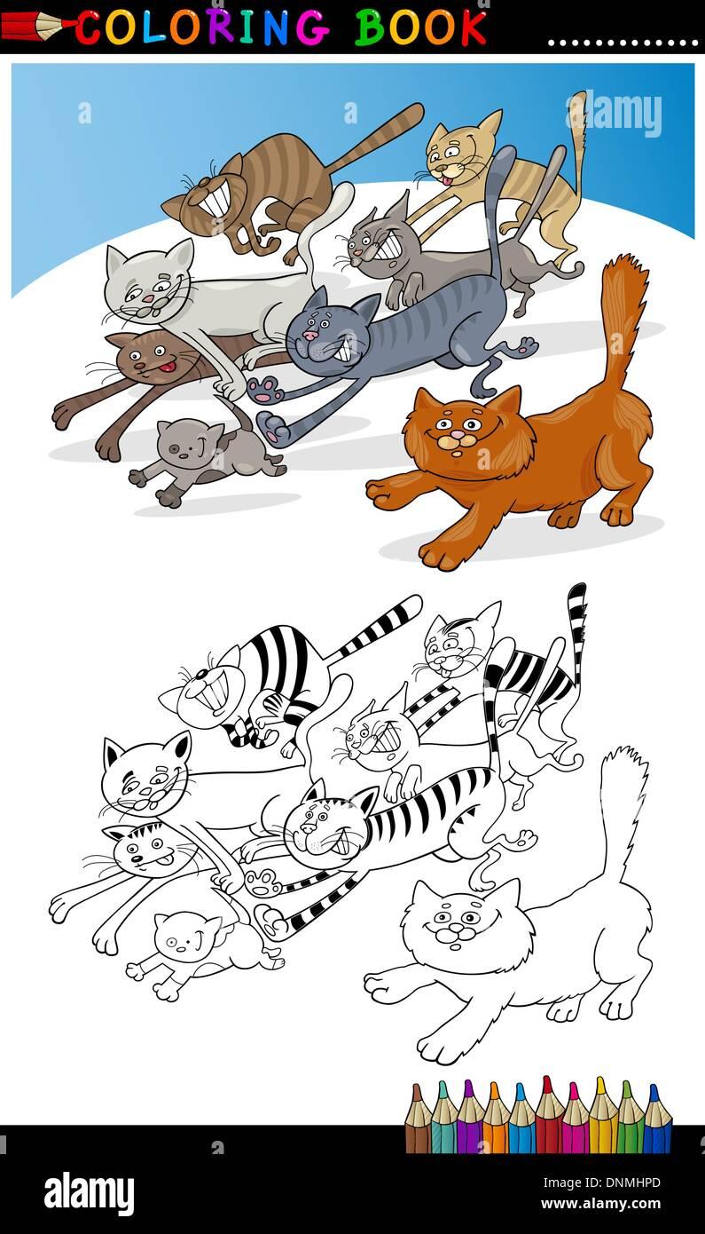 Libro Para Colorear O Página Cartoon Ilustración De Gracioso Gatos