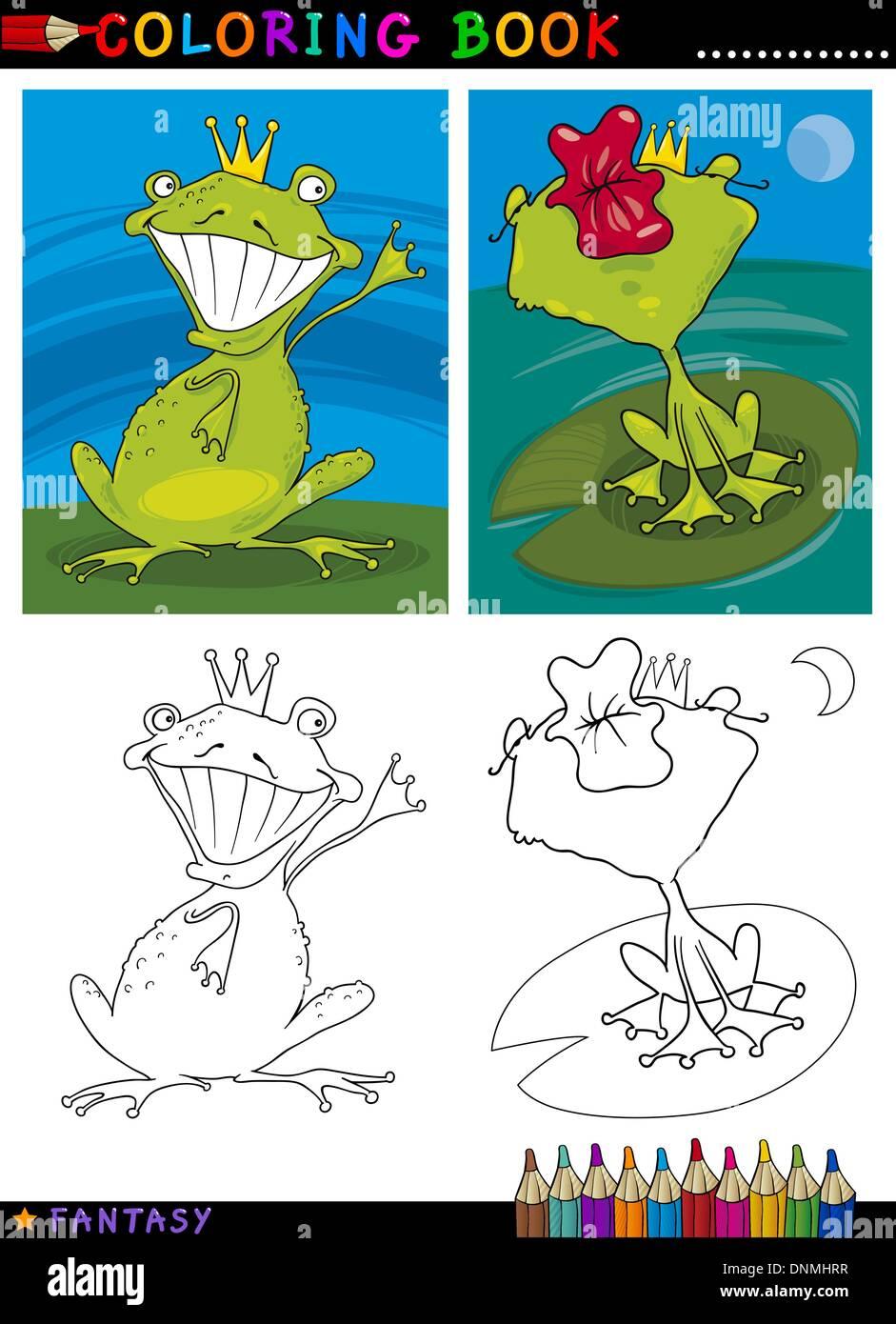 Libro para colorear o página Cartoon ilustración del Príncipe Rana ...