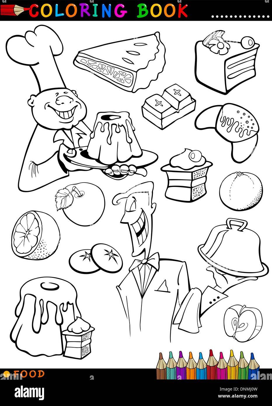 Libro para colorear o página Cartoon Ilustración de alimentos dulces ...