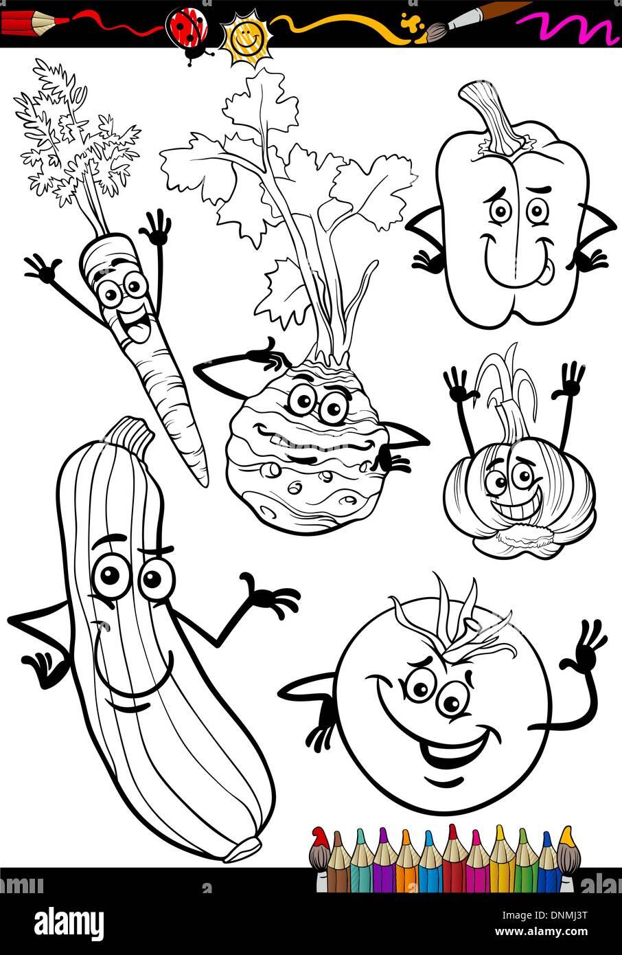 Libro para colorear de página o ilustración de caricatura en blanco ...