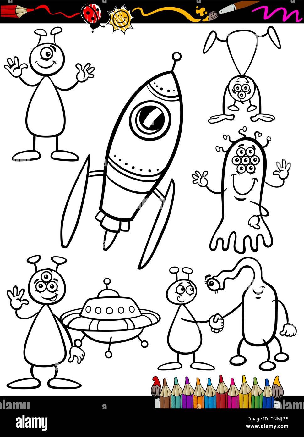 Libro para colorear o página Cartoon Ilustración juego de fantasía ...