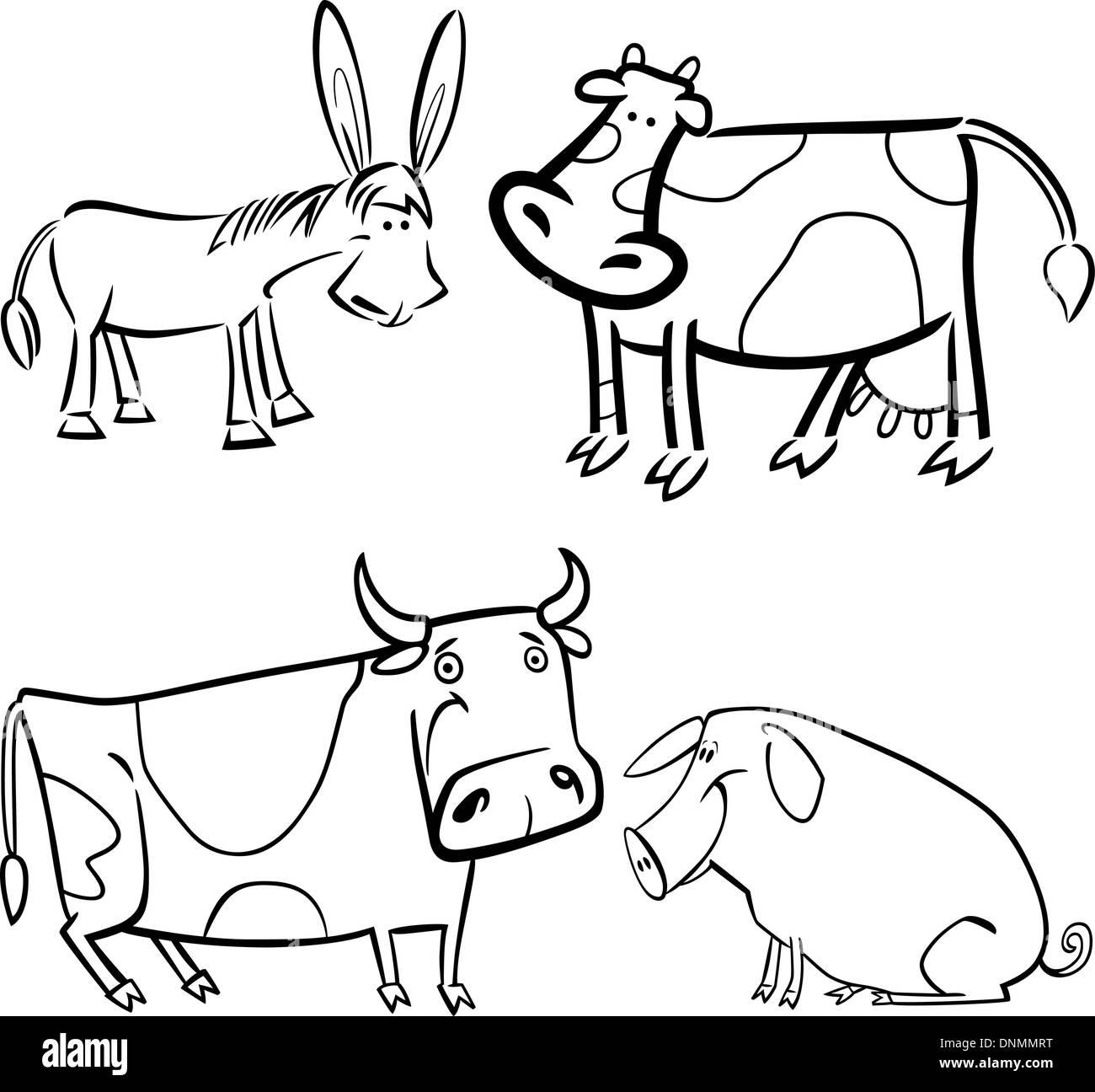 Ilustración De Dibujos Animados De Cuatro Lindos Animales De Granja