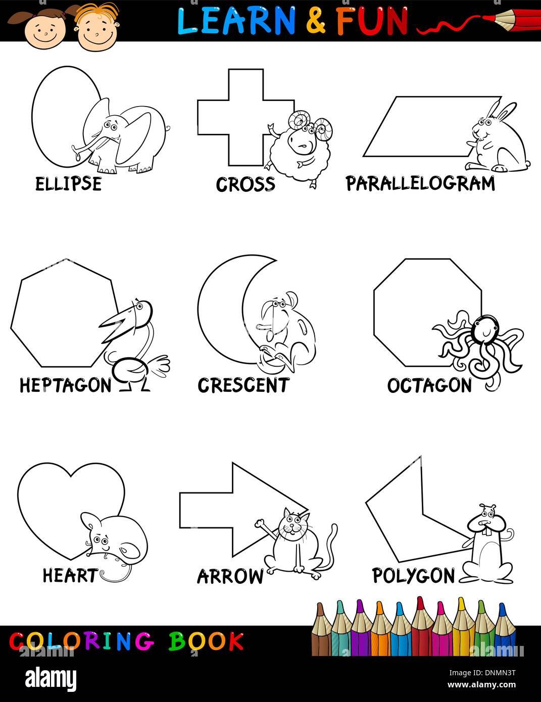 Libro Para Colorear De Dibujos Animados O Página Ilustración De