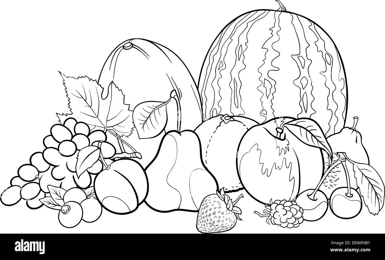 Ilustración caricatura en blanco y negro de frutas Grupo alimentos ...