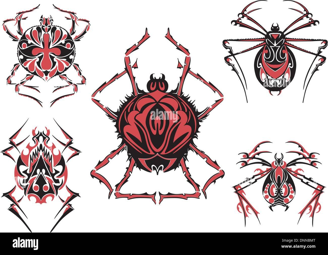 Negro y rojo tatuajes de araña simétrico. Ilustración vectorial EPS8 Imagen De Stock
