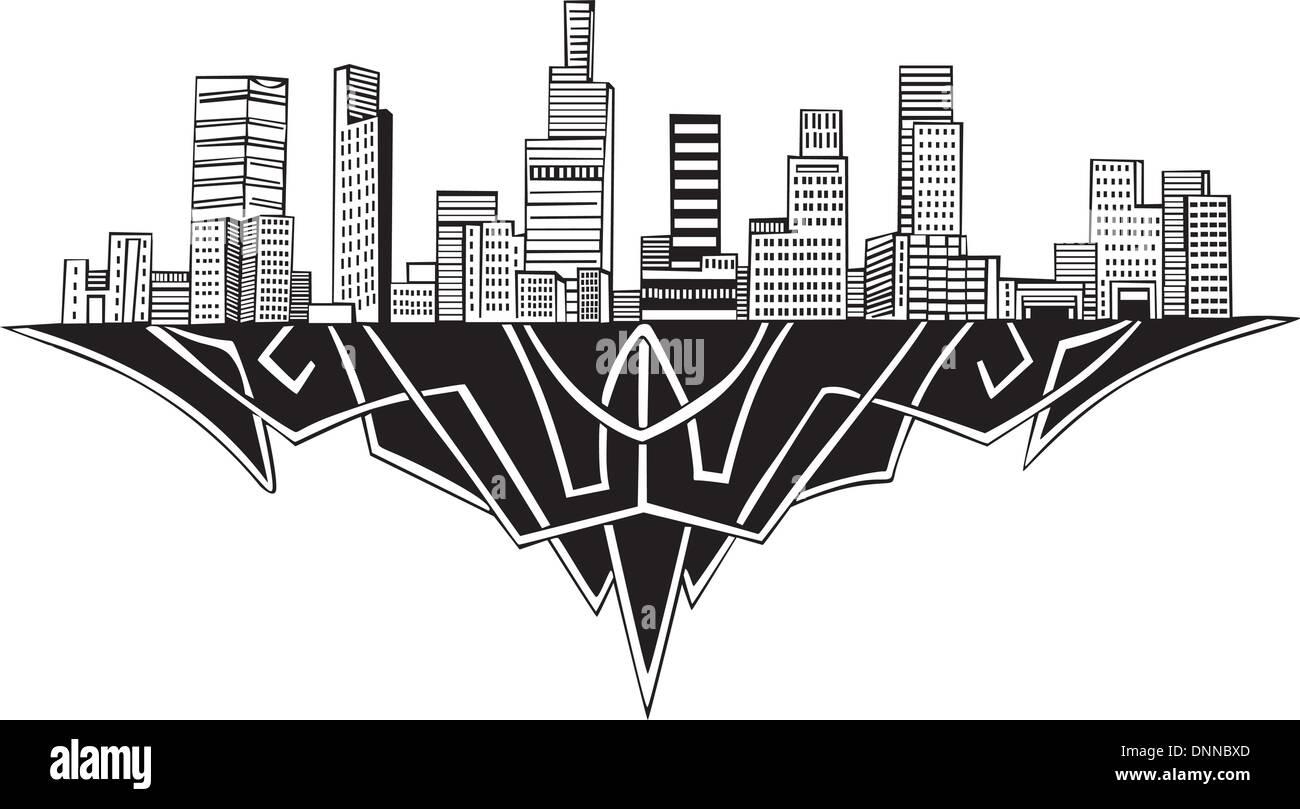 Los Angeles, CA el horizonte. En blanco y negro ilustración vectorial EPS 8. Imagen De Stock