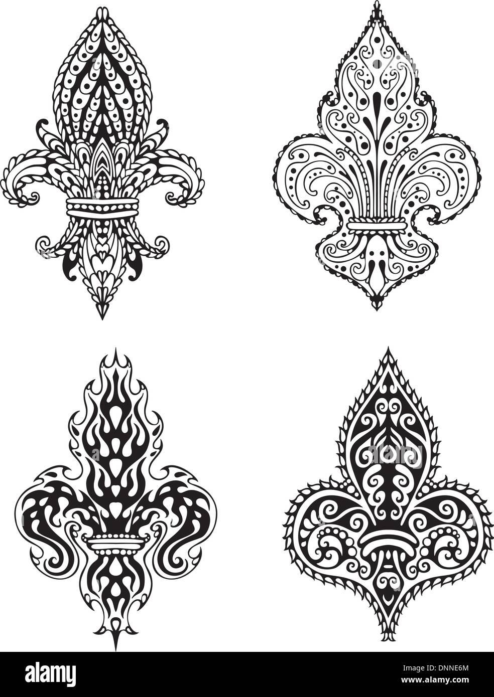 Fleur de Lis (lirios francesa de Los Borbones). Conjunto de ilustraciones vectoriales en blanco y negro. Imagen De Stock