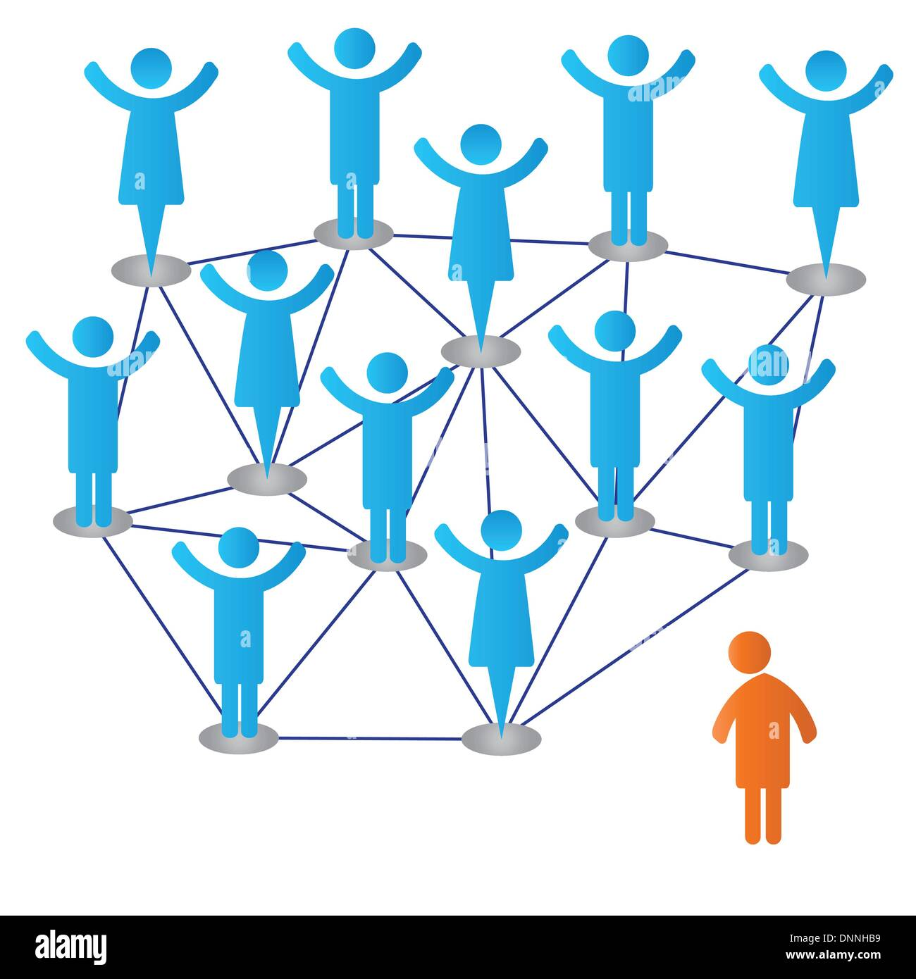 Grupo feliz y sola persona Imagen De Stock